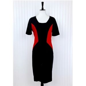 Nue by Shani • Red Black Color Block Dress • 14